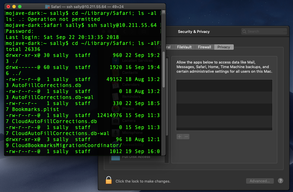 A screenshot image example of the ability to ssh into local account and traverse the protected folders