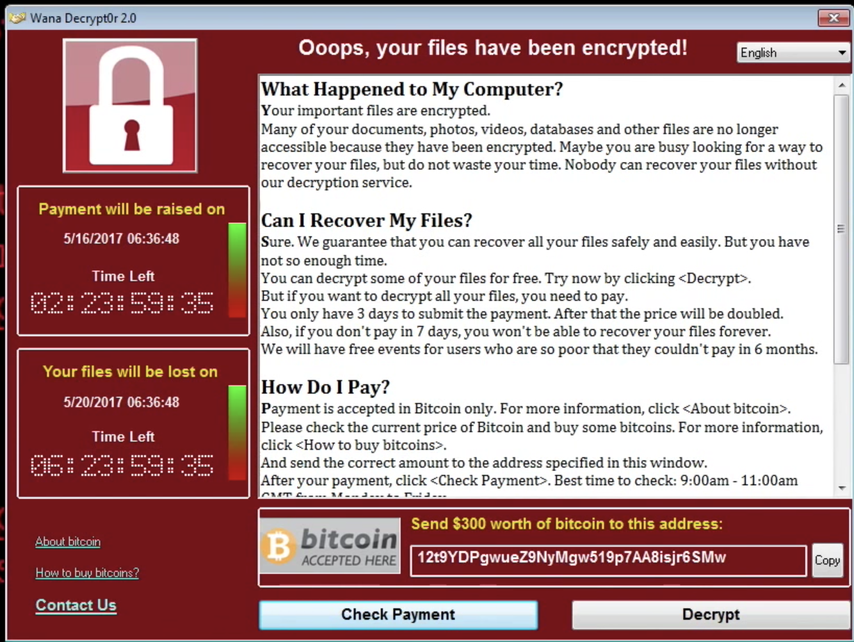 A screenshot image of WannaCry the biggest ransomware offensive in the history of cyber security.