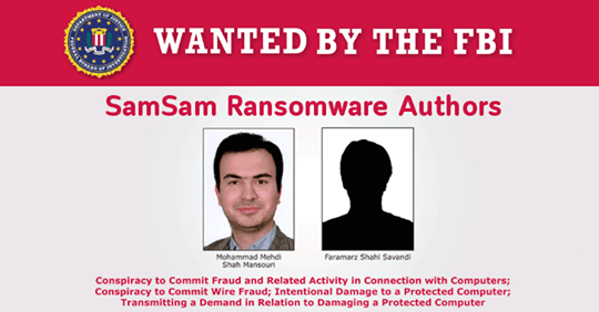 SamSam Ransomware Authors - Wanted by the FBI