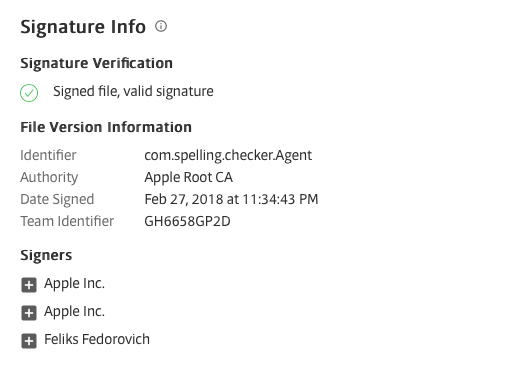 A screenshot image of Signature Info displaying the Signature Verfication and other File Version Information