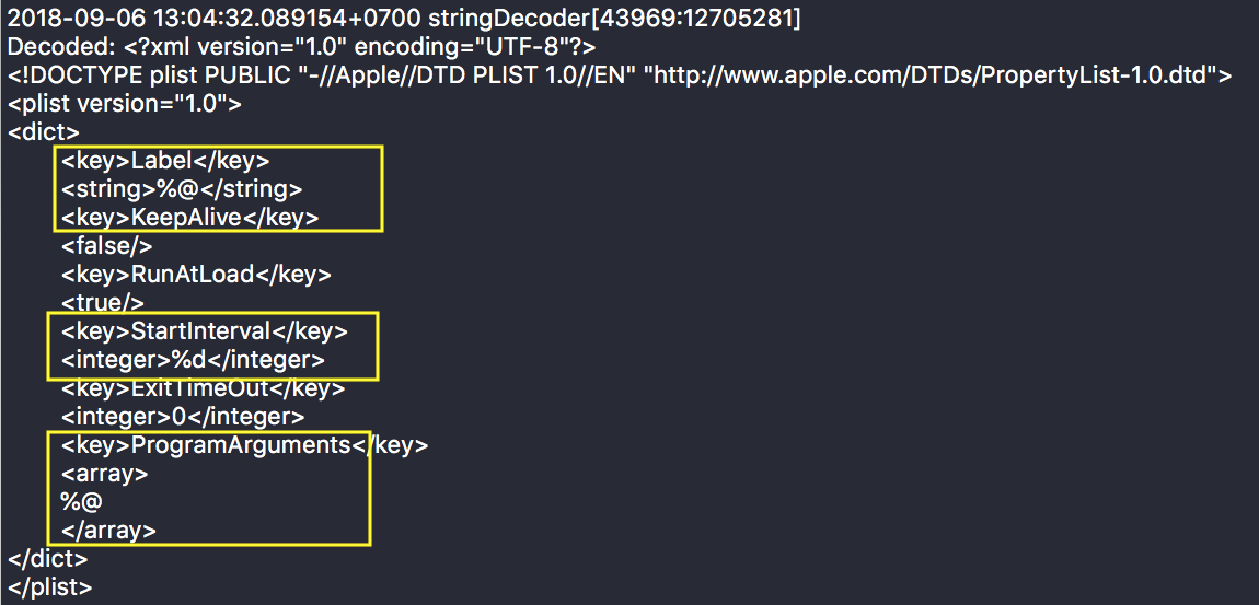A screenshot source code image with yellow highlighted boxes around the installer's obfuscated base64 property list file