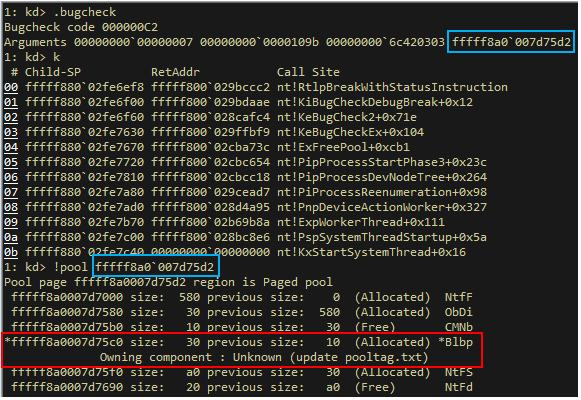 """A screenshot of a pool allocation with tag """"Blbp"""" that was allocated by Blbdrive.sys"""