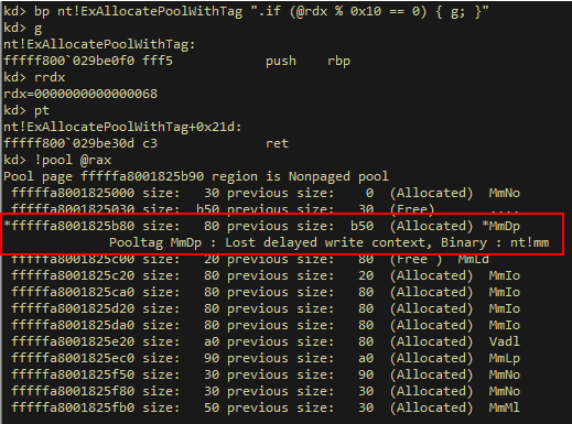 A screenshot of pool allocation with a request size