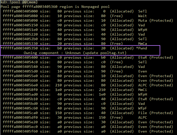 An screenshot of a vulnerable pool allocation, made with without SKREAM.