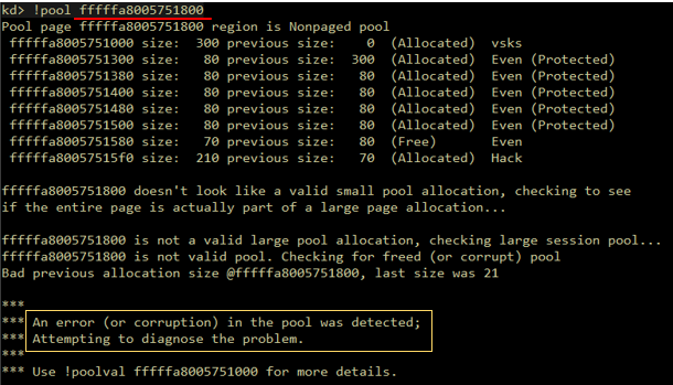 A screenshot of exploit corrupted and failed to preserve integrity of the pool