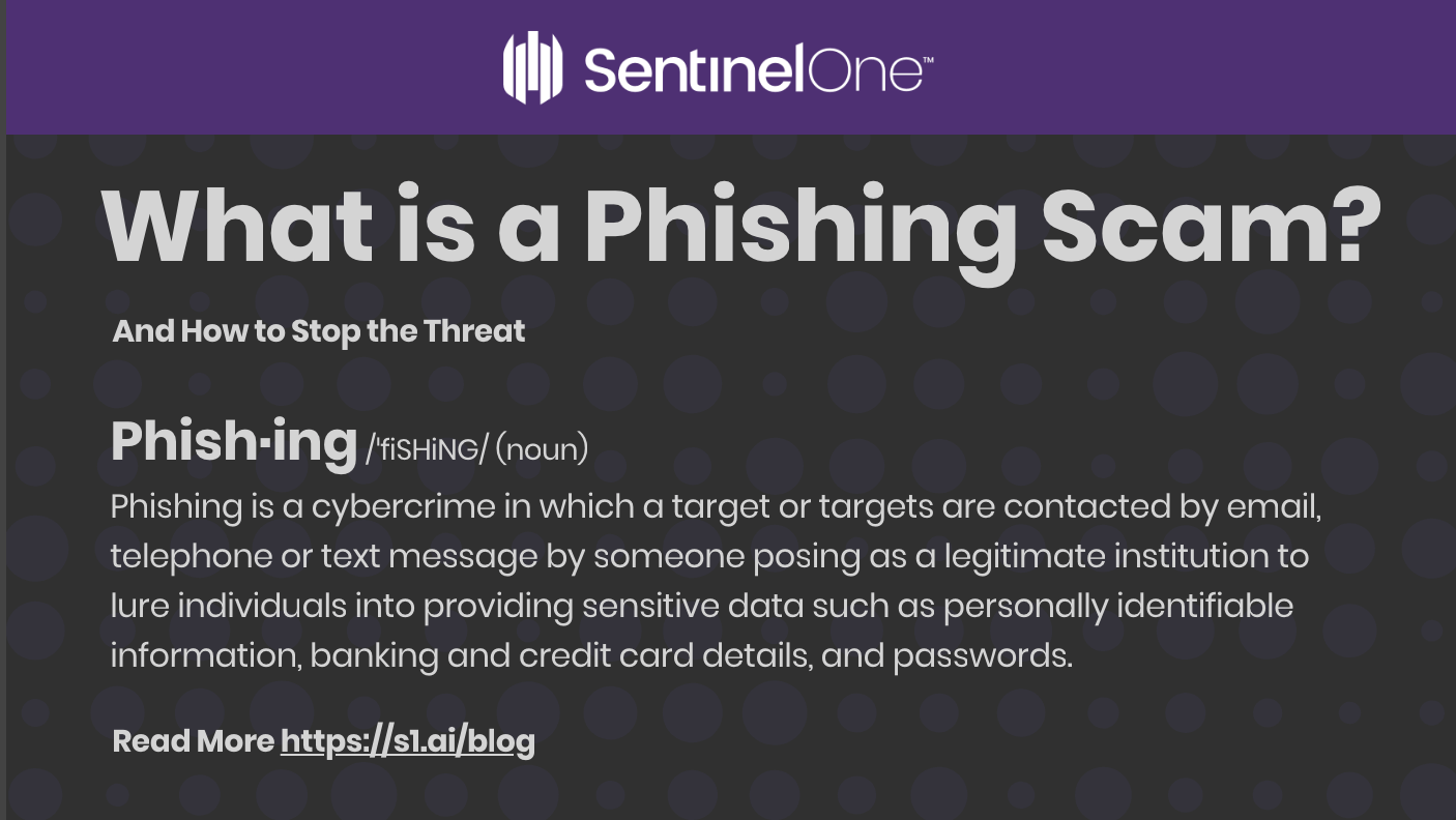 SentinelOne's image of What is a Phishing Scam with phishing's definition being displayed.