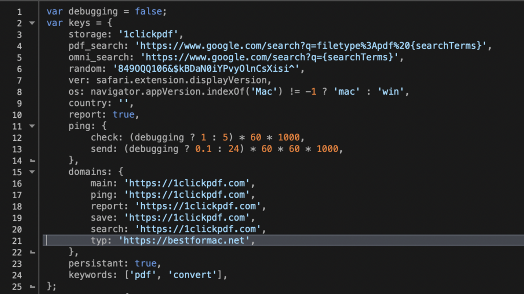 Screenshot image of code for redirect to pup