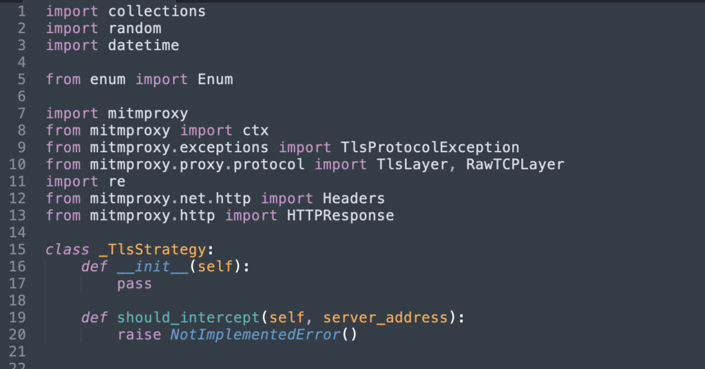 Image of importing mitm proxy
