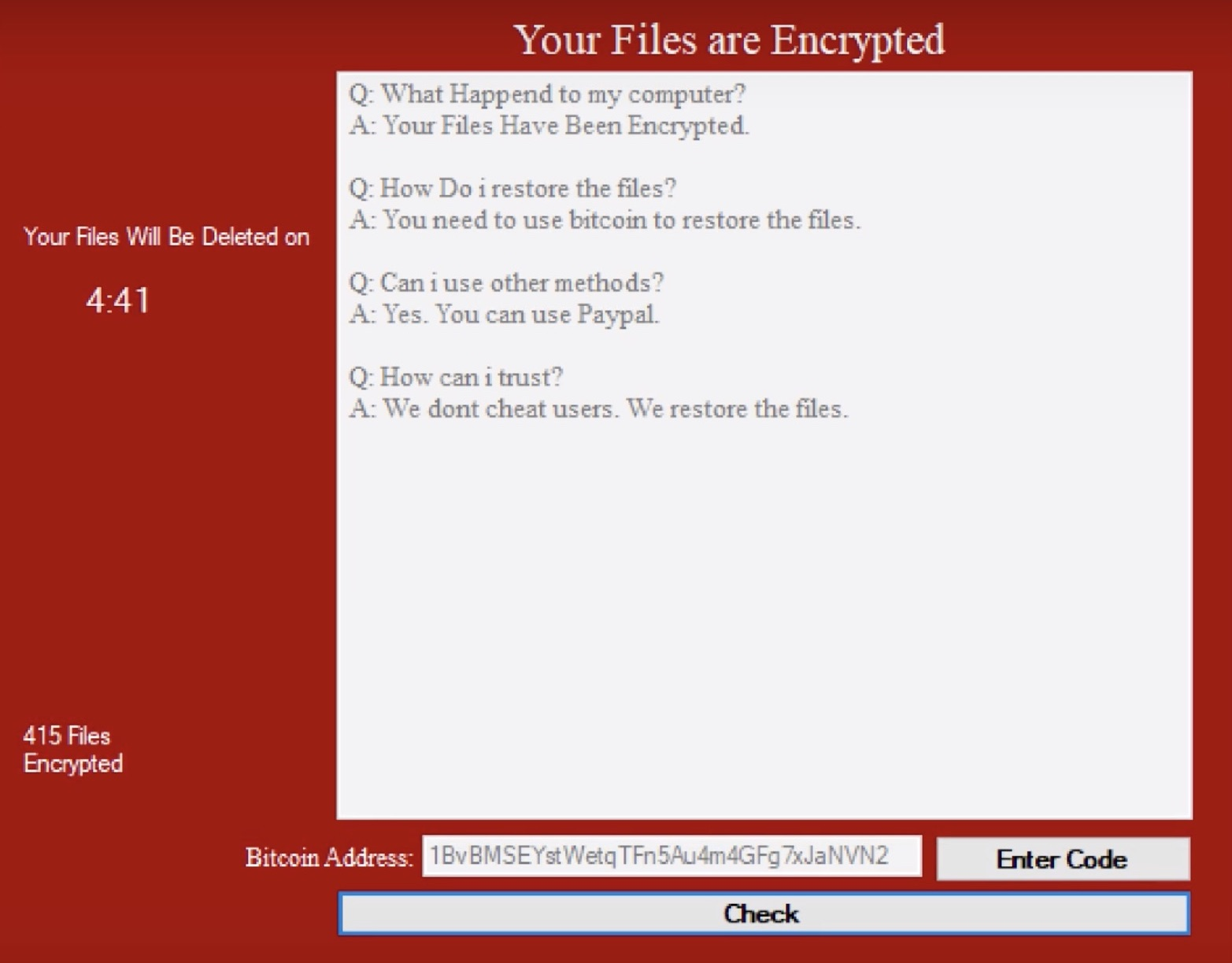 image of encrypted files ransom note