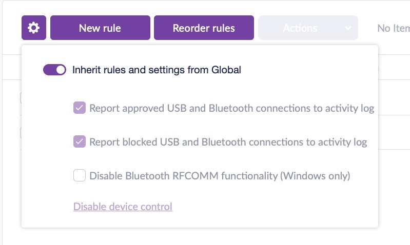image of sentinel one default bluetooth policy