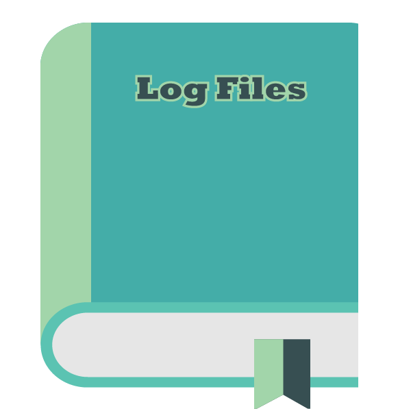 Log formatting signified by a book with the title log files