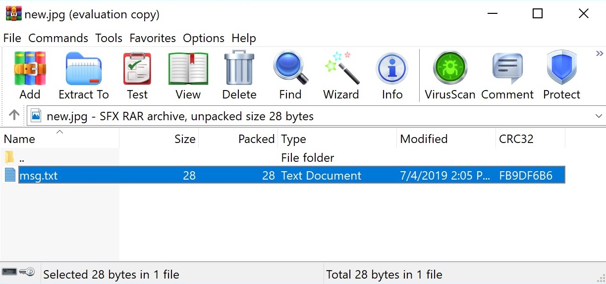 image of winrar showing embedded file