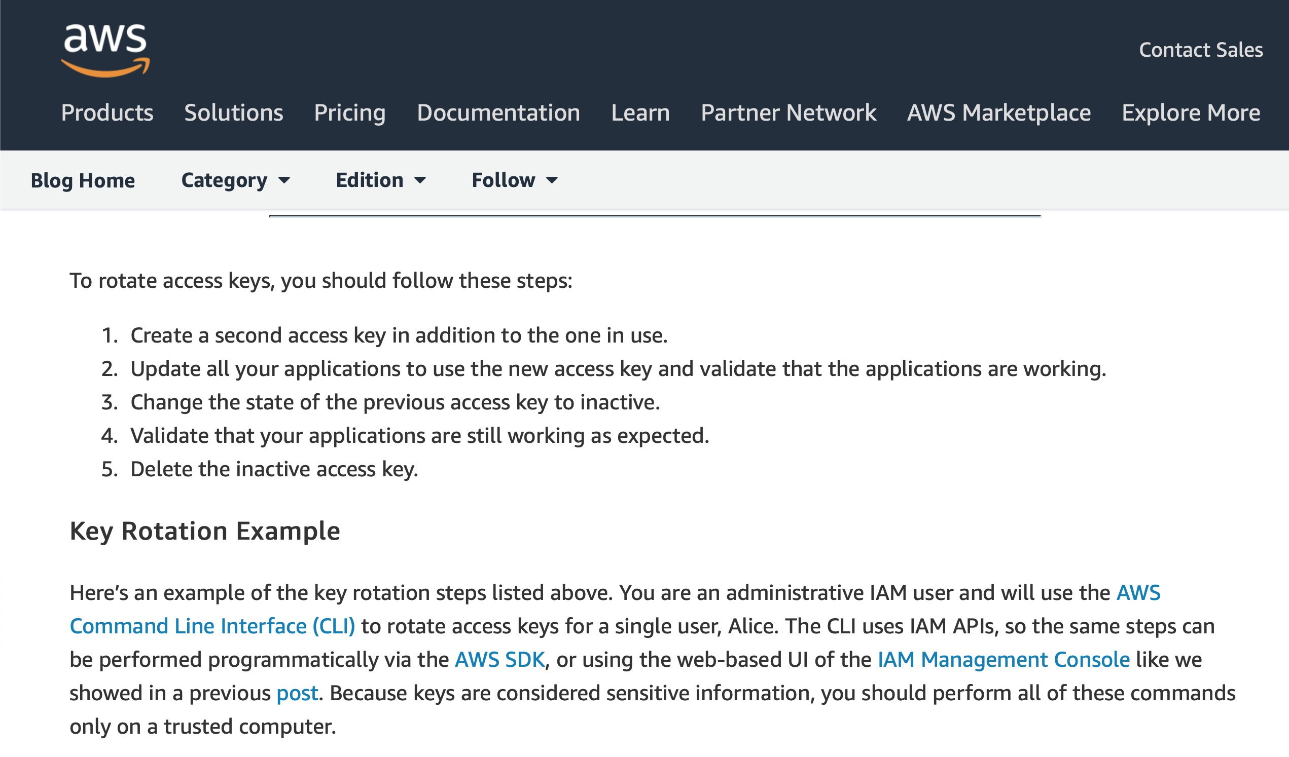 image of aws instructions to rotate keys