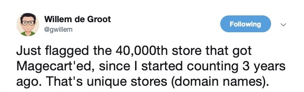 image of tweet about 40 thousand magento infections