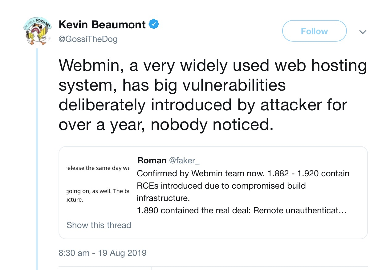 image of tweet about webmin vulnerability