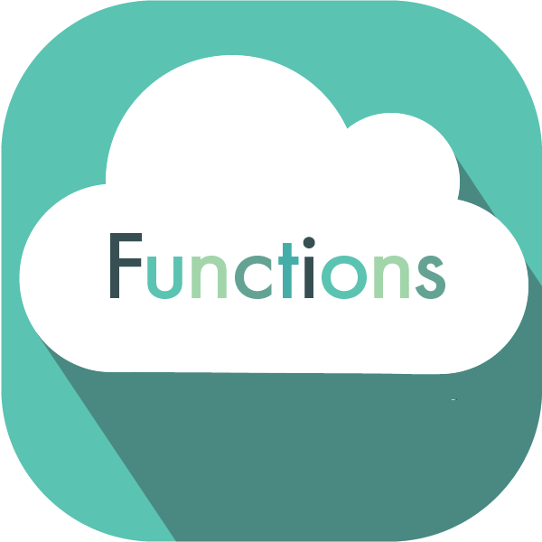 A cloud with the word function signifying google cloud functions