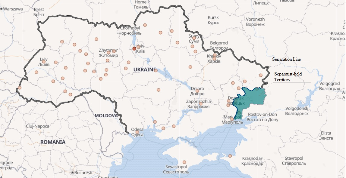 image showing a map of the Ukrainian separation line