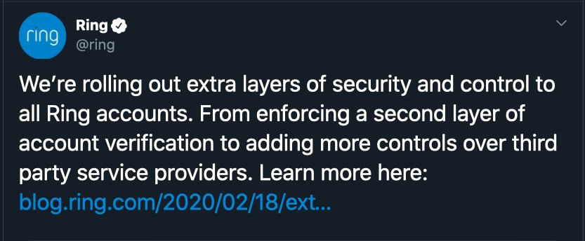 image of tweet of ring adding extra layers of security