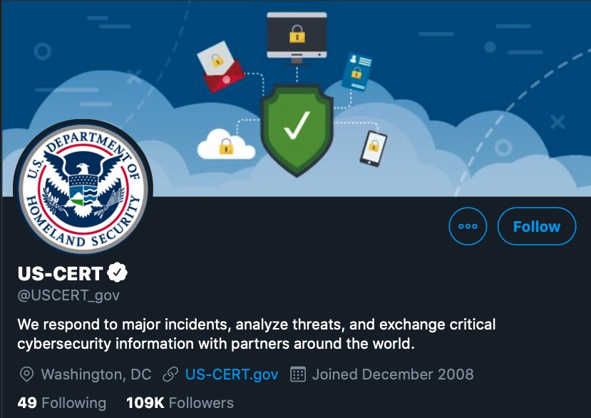 image of US-Cert twitter home page