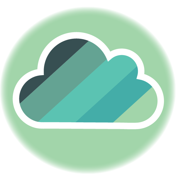 Cloud with Scalyr colors signifying serverless deployment