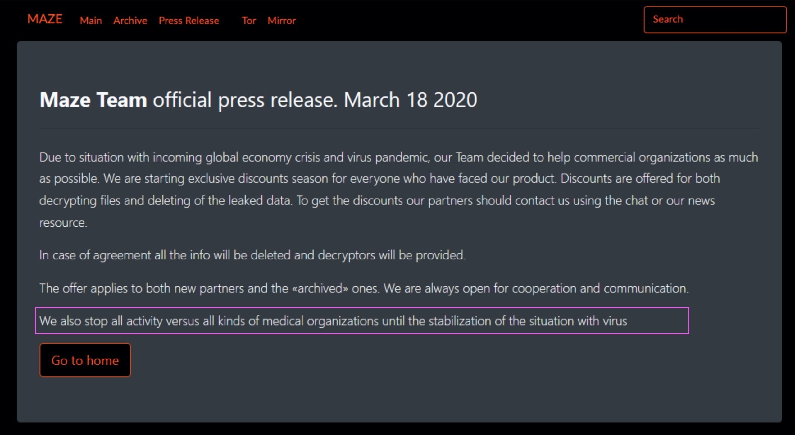 image of Maze ransomware press release