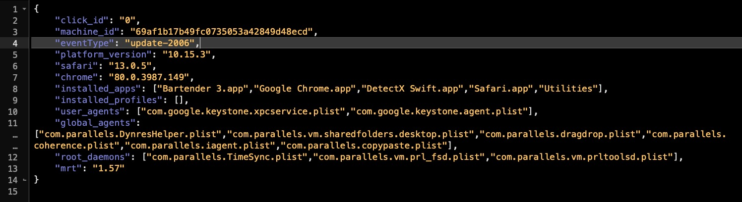 image of script showing how adware scrapes device data and exports it to their own servers