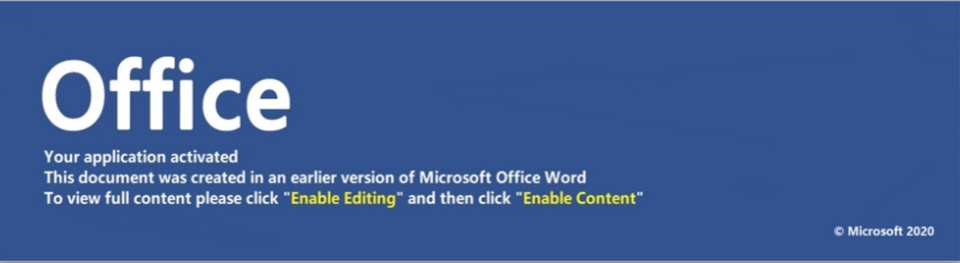 image of request from MS Office to enable macros