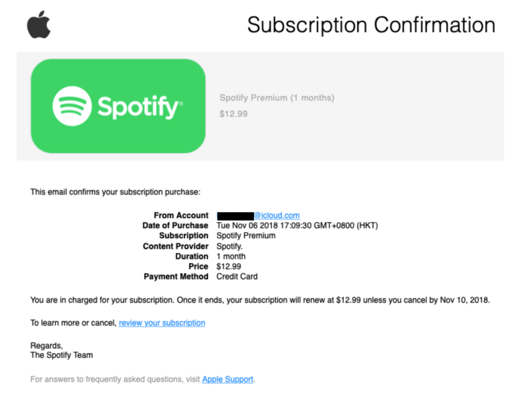 A fake Spotify phishing subscription confirmation from the app store