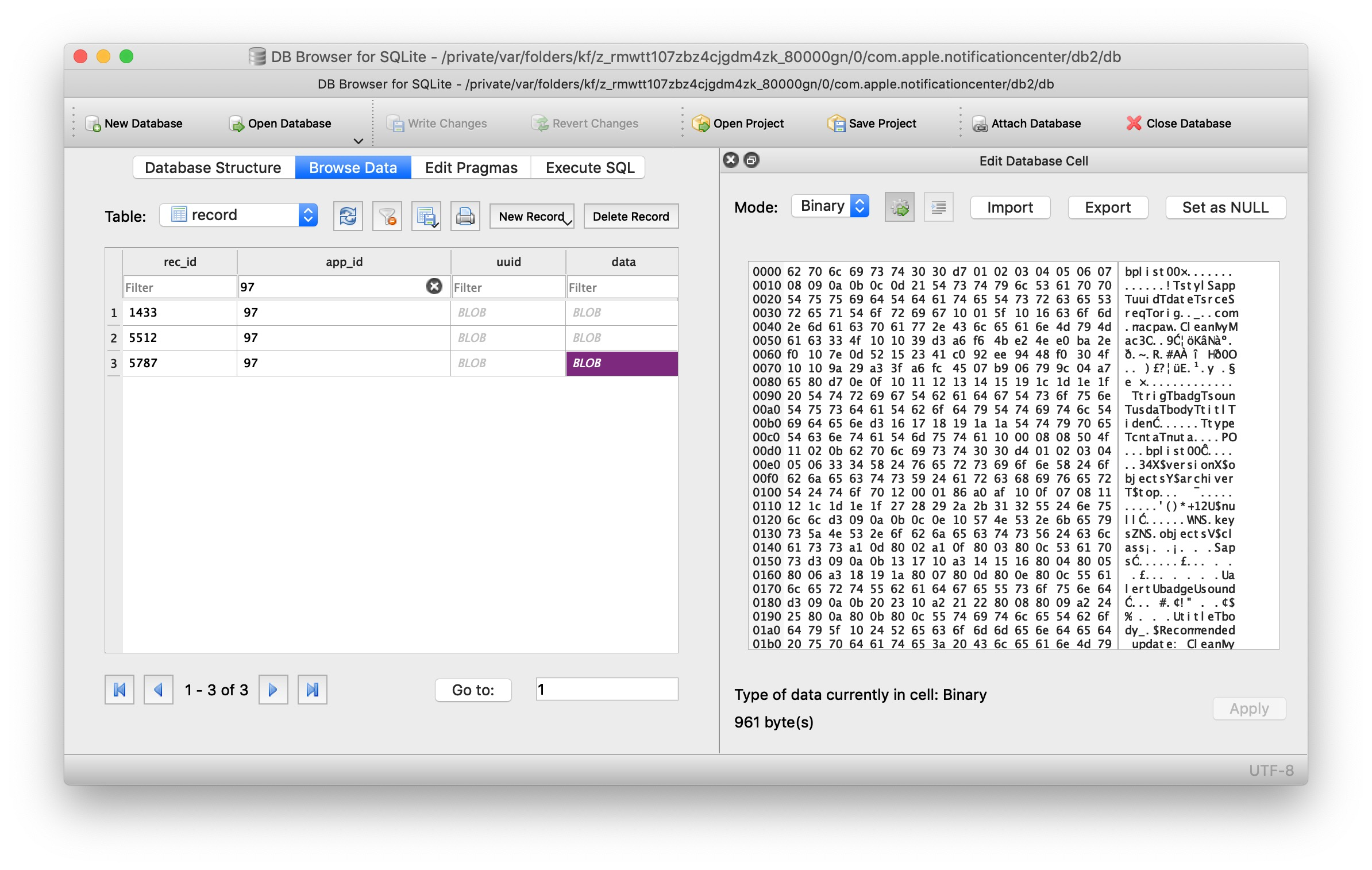 image of blob in DQ SQLite browser