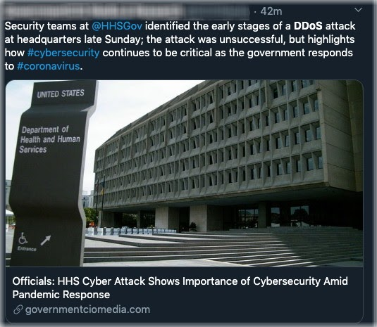 image of tweet about DDoS attack on health service provider
