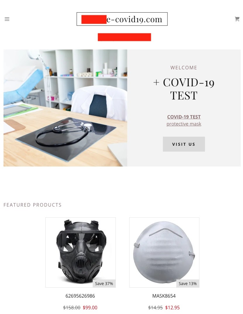 image of scam advert for a Covid Test